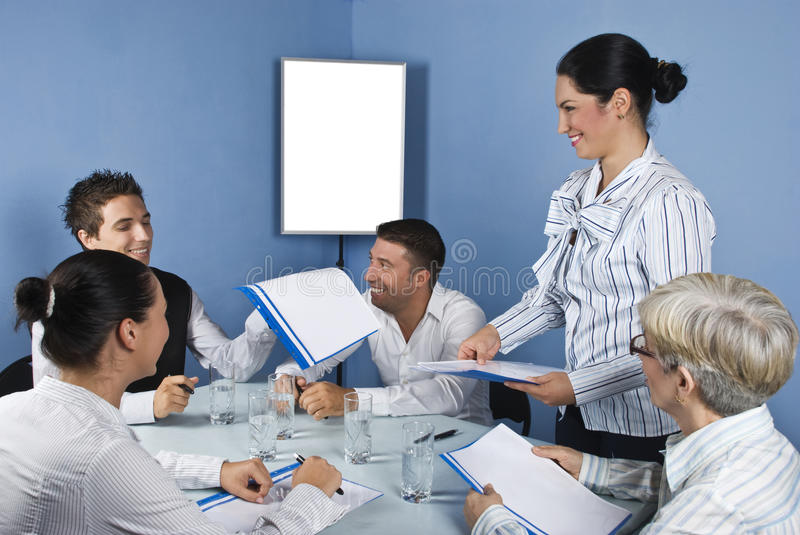 Group of people having a business meeting stock photo