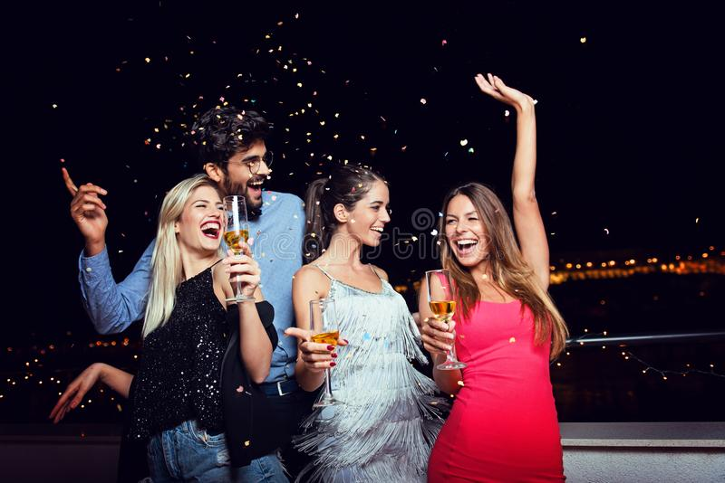 Group of people having a party on the roof stock photography