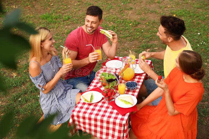Group of people having picnic at table in park stock photography