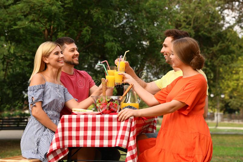 Group of people having picnic at table on summer day stock image
