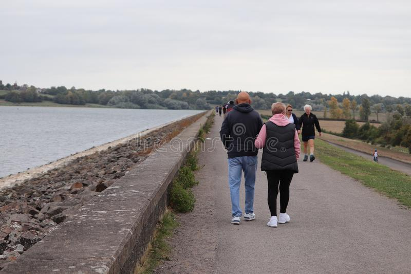 Leisure walk and cycling along a path . royalty free stock photography