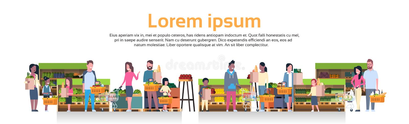 Group Of People Holding Bags, Baskets And Pushing Trolleys Over Supermarket Shelves With Grocery Products Consumerism royalty free illustration