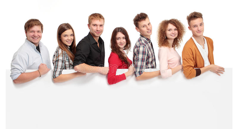 Group of people holding blank banner royalty free stock images