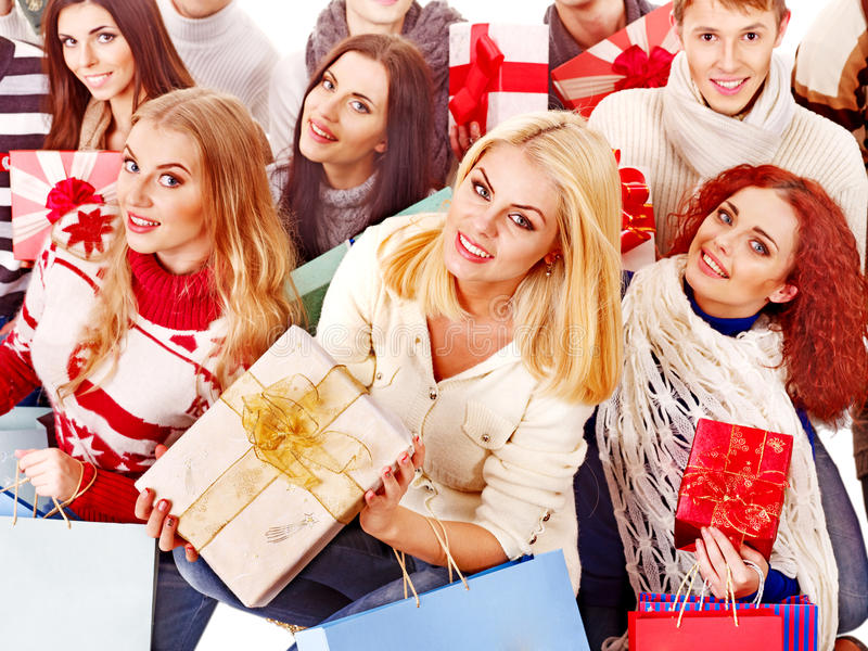 Download Group People Holding Gift Box. Stock Image - Image: 28880499