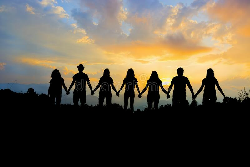 Group of people holding hands team unity royalty free stock photos