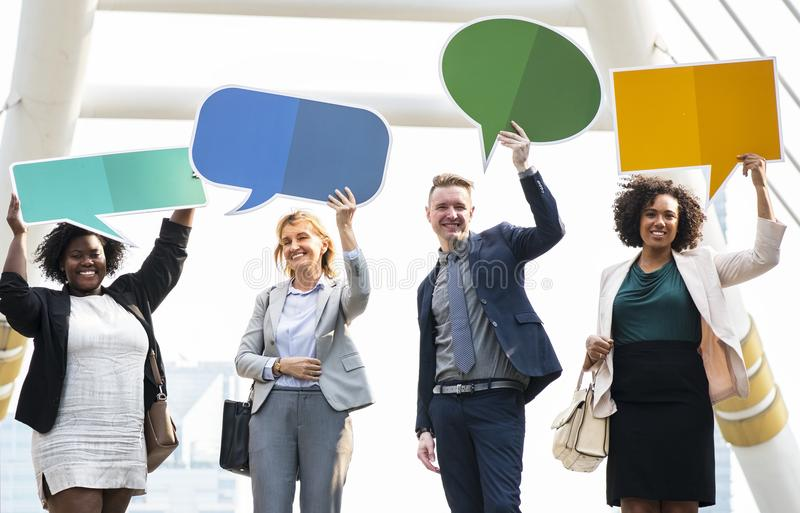 Group of People Holding Message Boards stock photos
