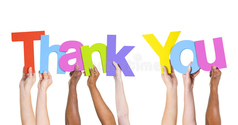 Group Of People Holding Word Thank You stock image