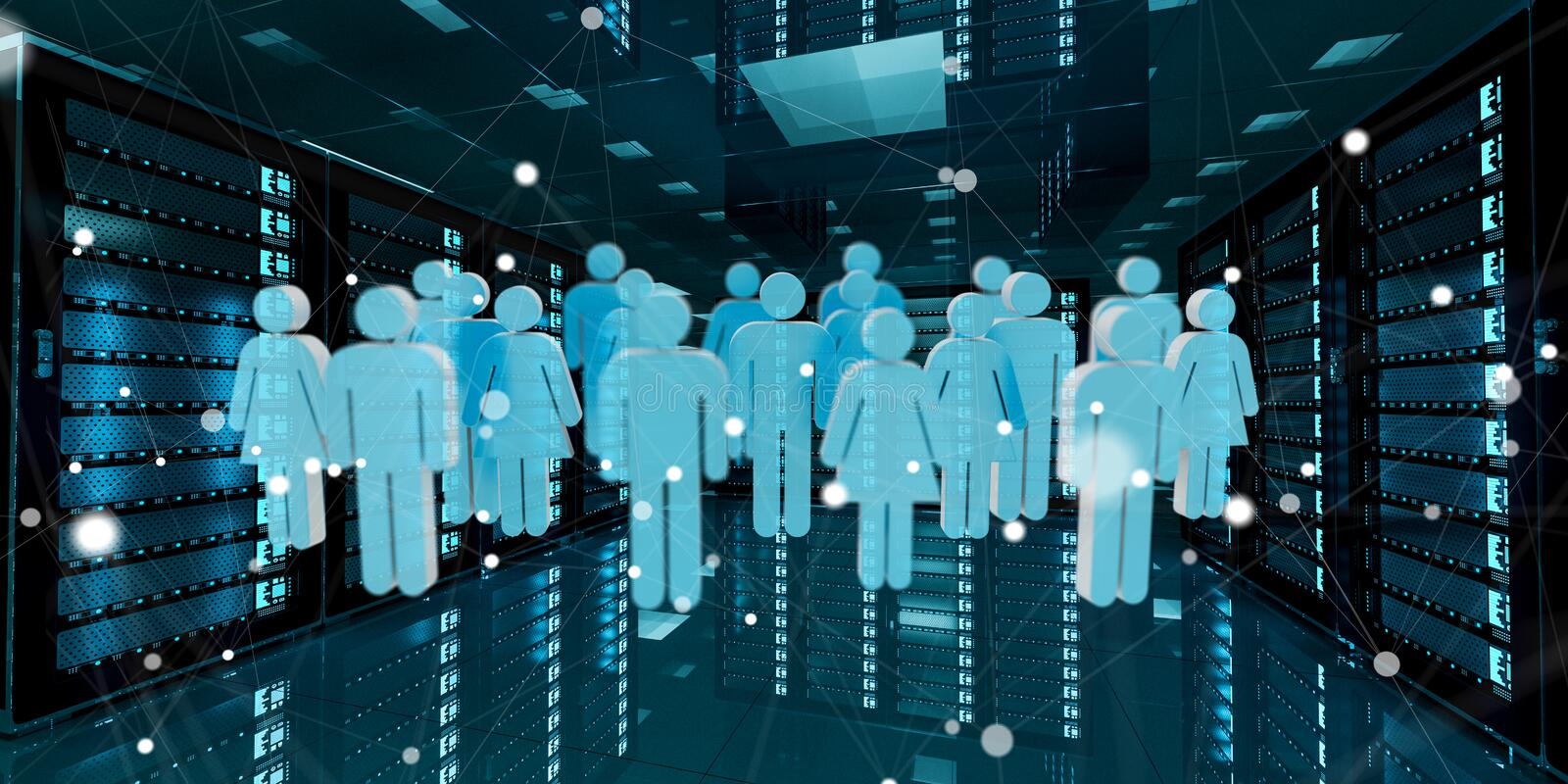 Group of people icons flying over server room data center 3D rendering vector illustration