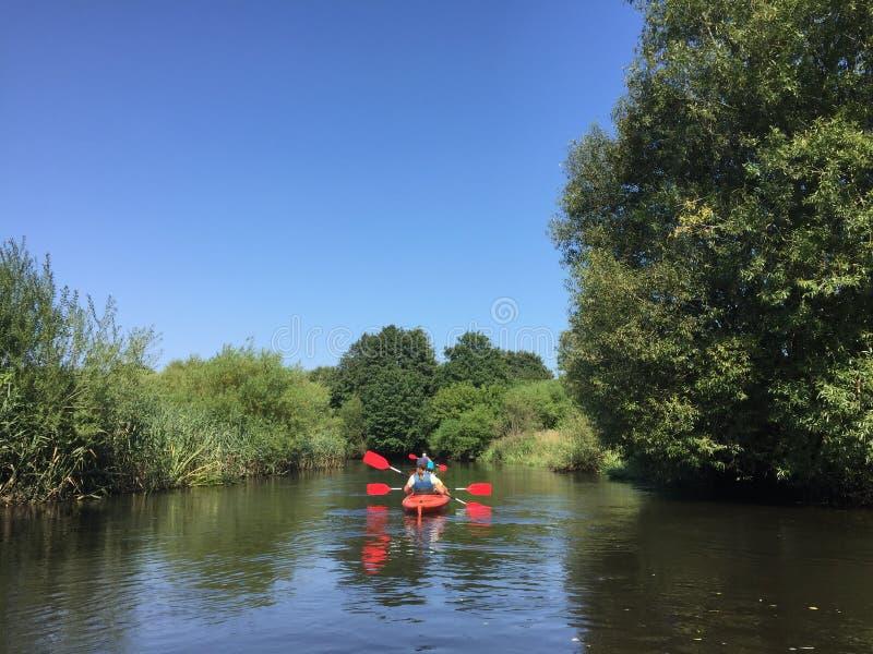 People kayaking on Wieprza river Poland royalty free stock images