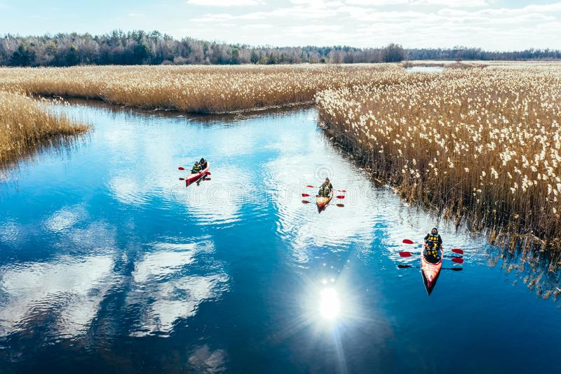 Group of people in kayaks among reeds on the autumn river. stock image