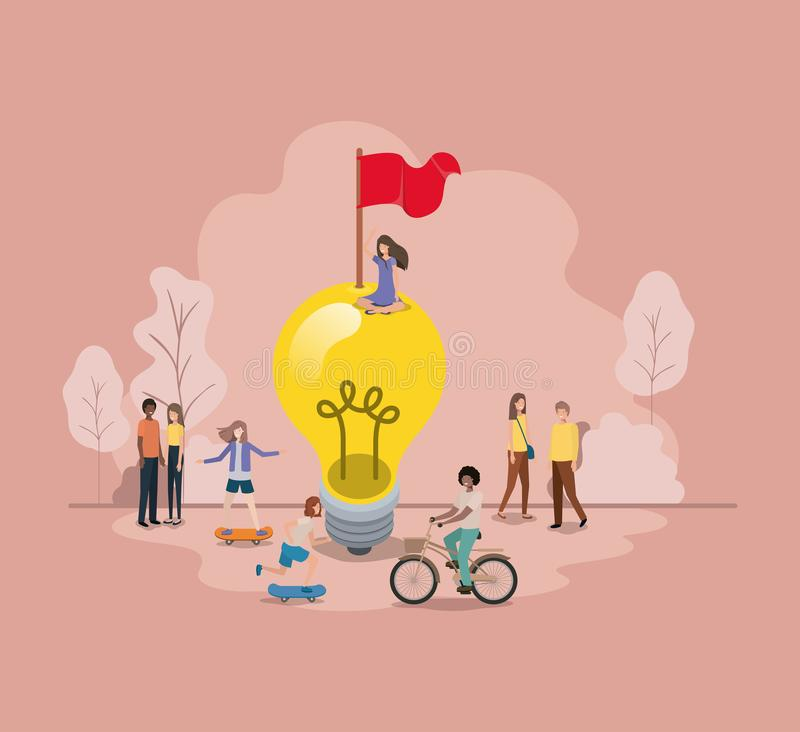Group of people with lightbulb avatar character stock illustration