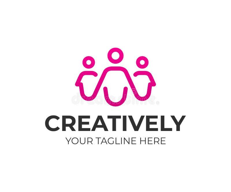 Group of people logo design. Creative people vector design stock illustration