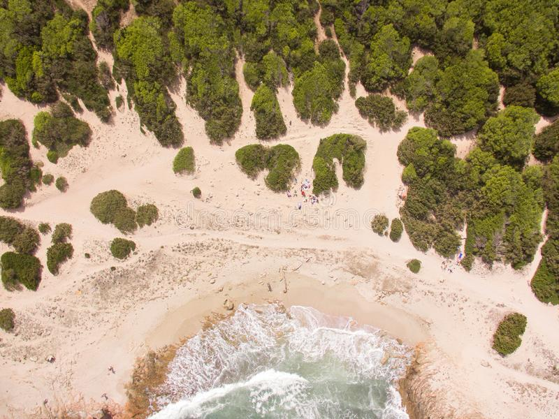 A group of people on a lonely beach from above. With bushes around at the shoreline stock images