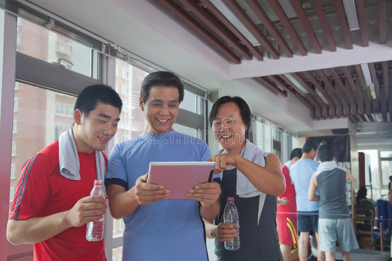 Download Group Of People Looking At Digital Tablet In The Gym Royalty Free Stock Photos - Image: 31692568