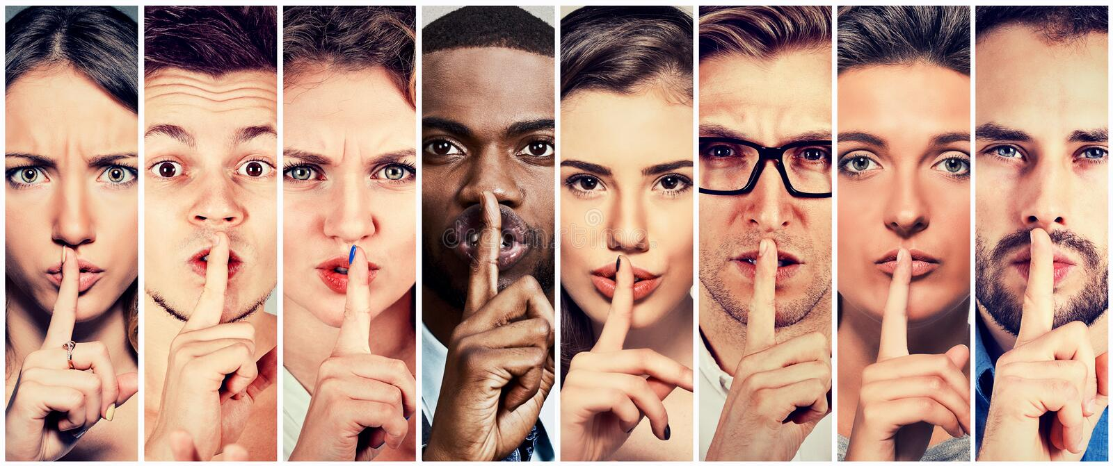 Group of people men women with finger on lips gesture royalty free stock photography