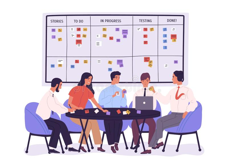 Group of people or office workers sitting around table and discussing work issues against SCRUM task board with sticky stock illustration