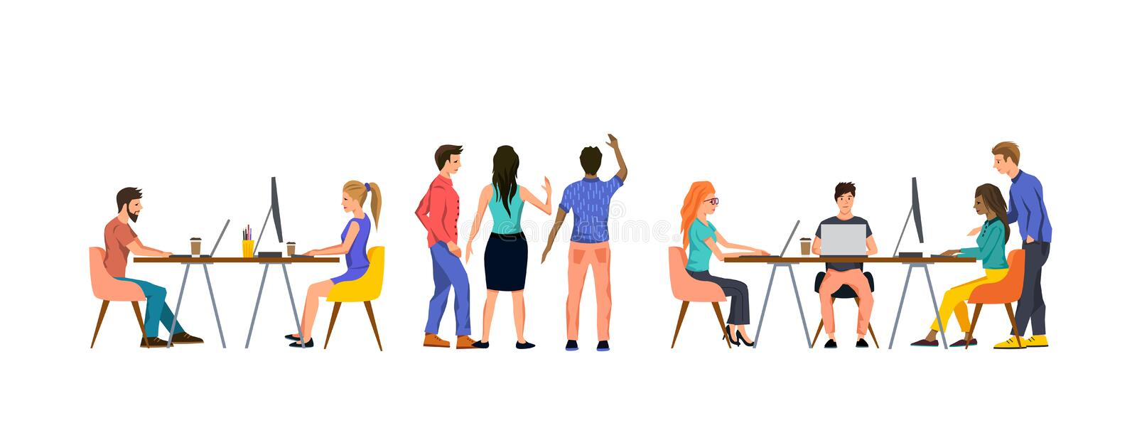 Group Of People In An Office Working As A Team vector illustration