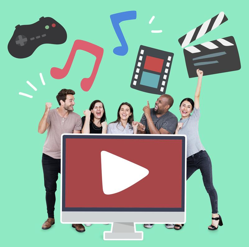 Group of people with an online multimedia concept icons stock photos
