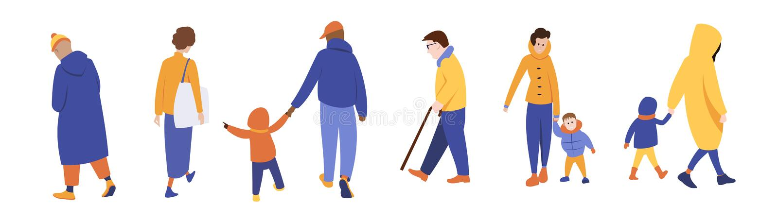 A group of people in outerwear stock illustration