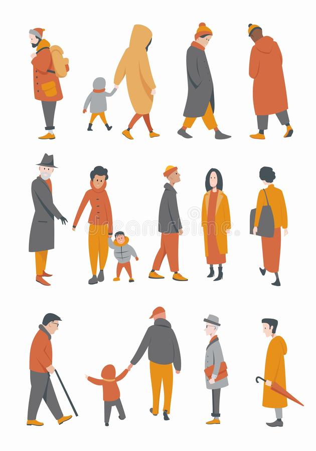 A group of people in outerwear vector illustration
