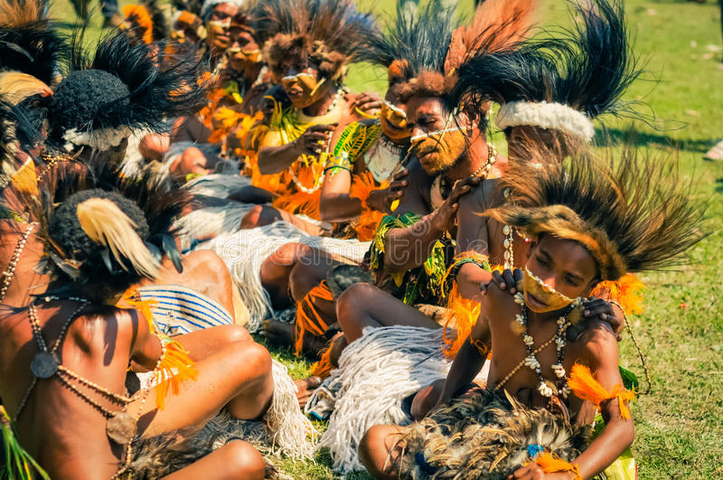 Group of people in Papua New Guinea royalty free stock photography