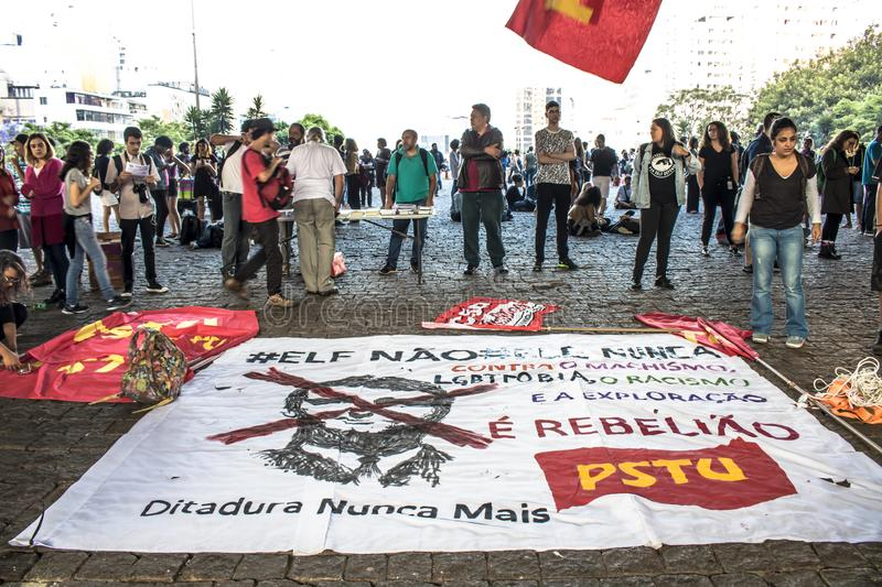 A group of people participates in a demonstration against President-elect Jair Bolsonaro. Sao Paulo, Brazil, 30 October 2018. A group of people participates in royalty free stock photos