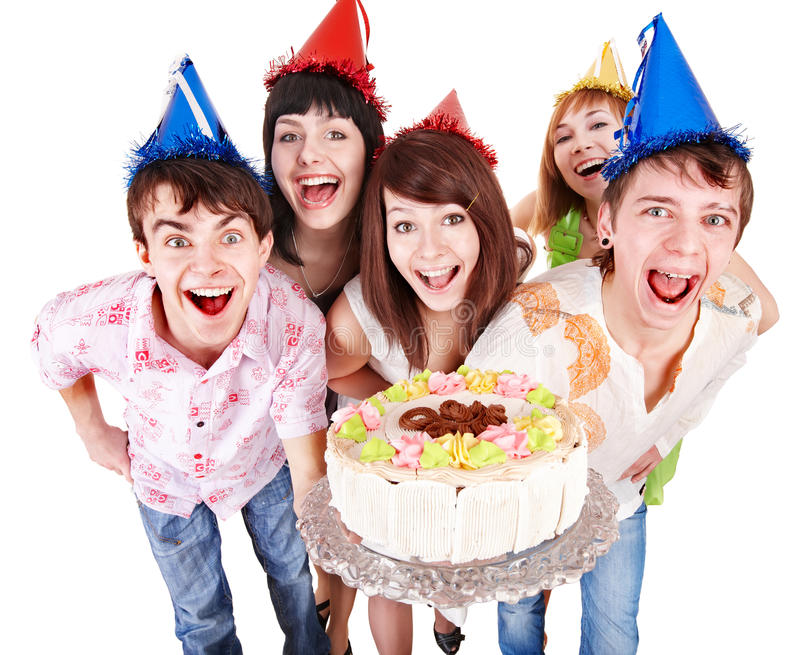 Download Group Of People In Party Hat With Cake. Stock Photo - Image: 13782756