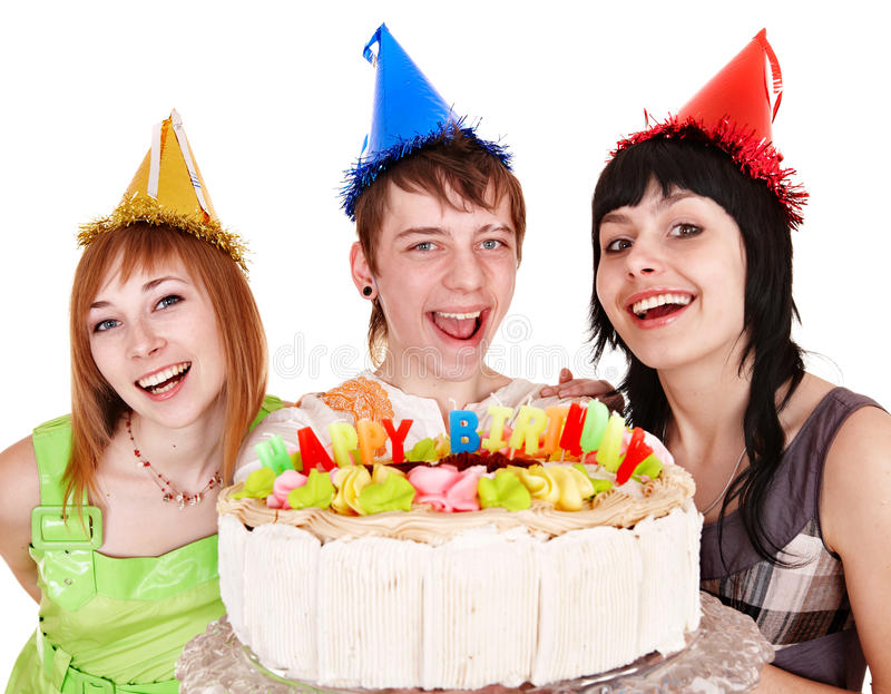 Group people in party hat with happy birthday cake. Group of people in party hat with cake celebrate happy birthday. Isolated stock image