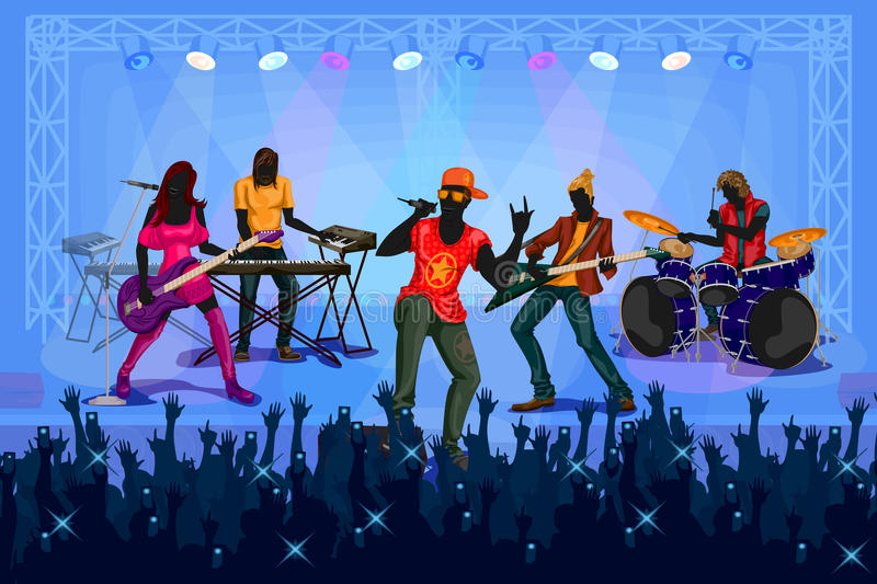 Group of people performing live on Music band concert performance vector illustration