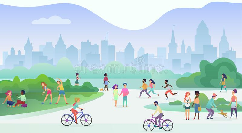 Group of people performing sports activities at park. Doing gymnastics exercises, jogging, talking and walking, riding royalty free illustration