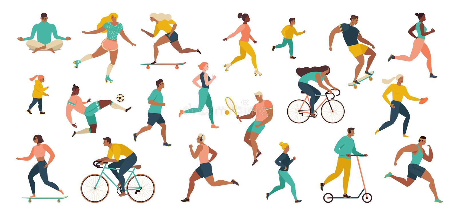 Group of people performing sports activities at park doing yoga and gymnastics exercises, jogging, riding bicycles, playing ball royalty free illustration