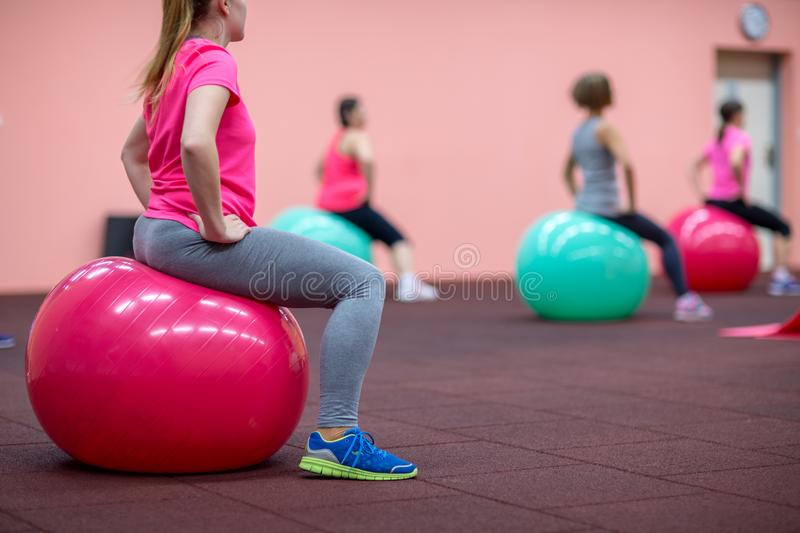 Group people in a pilates class at the gym royalty free stock photos