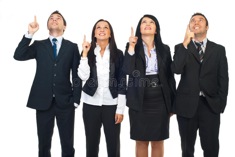 Group of people pointing up stock photography