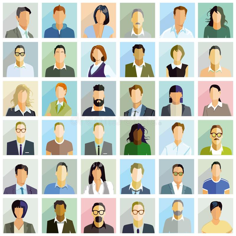 Group people portrait illustrations. Colorful illustrations of 36 individual illustrated portraits shown in a square grid form stock illustration