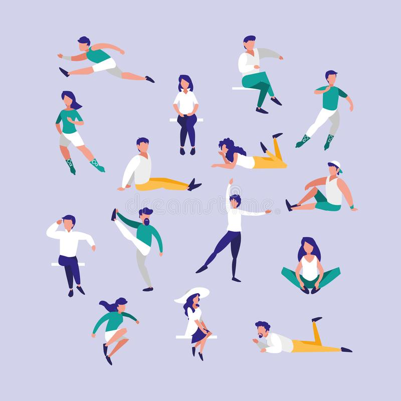 Group people practicing exercises avatar character stock illustration