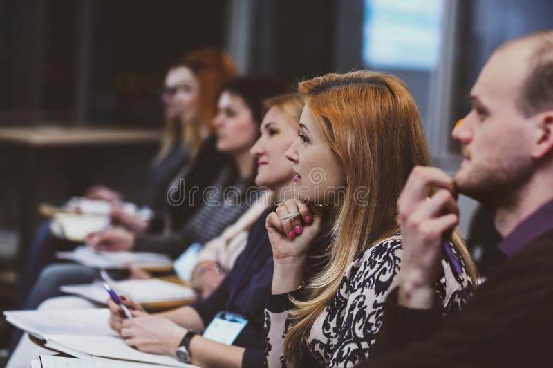 Group of people present at business conference royalty free stock images