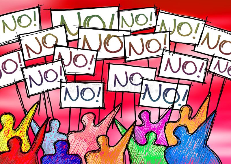 A group of people protesting writing `no ` on their billboards.  stock images