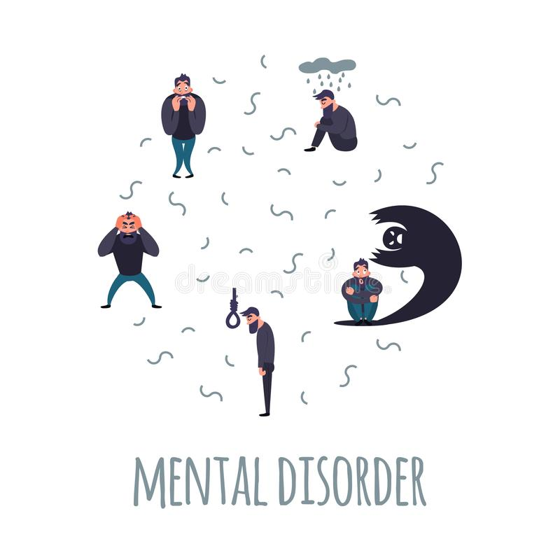 Group of people with psychiatric problem. vector illustration