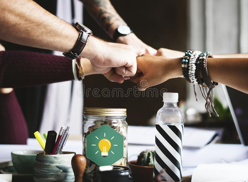 Group of People Putting Fist on Center royalty free stock photos