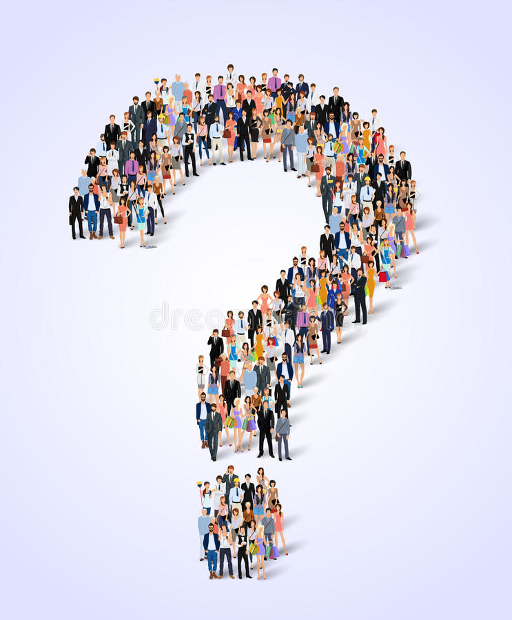 Group of people question poster. Group of people adult professionals in question mark shape poster vector illustration stock illustration