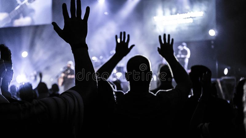 Group of People Raising Hands Silhouette Photography royalty free stock photography