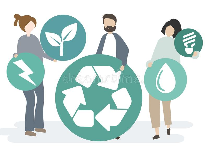 Group of people with the recycle icon vector illustration
