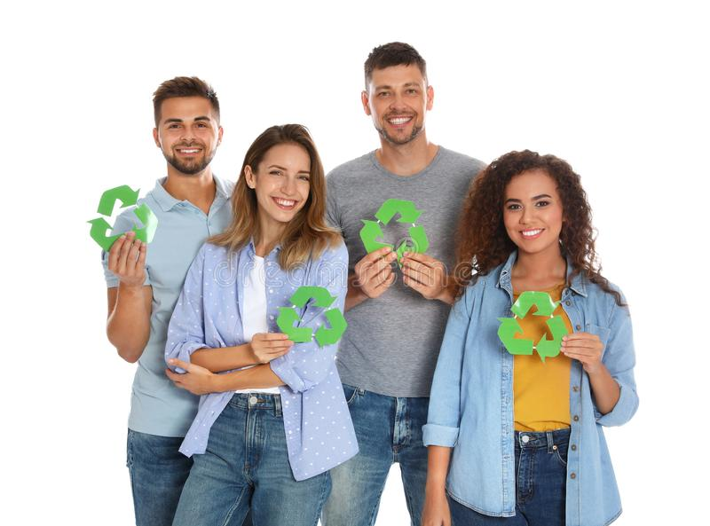 Group of people with recycling symbols stock image