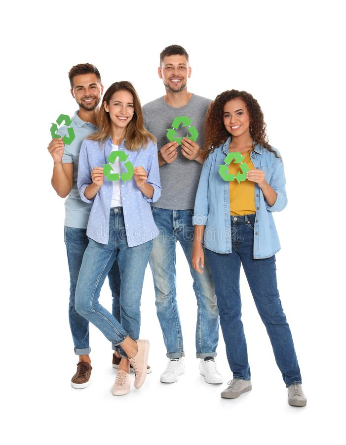 Group of people with recycling symbols royalty free stock images