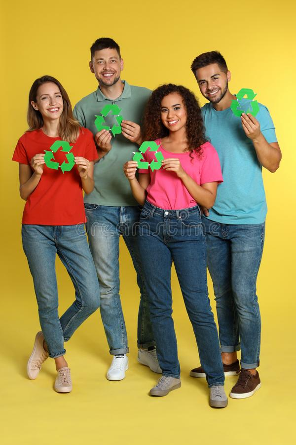 Group of people with recycling symbols royalty free stock photos