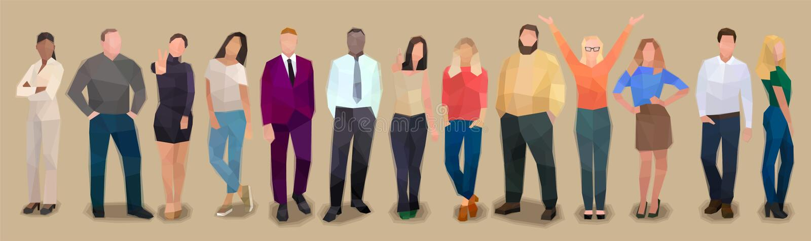 Group of people in a row, retro watercolor volume vector vector illustration