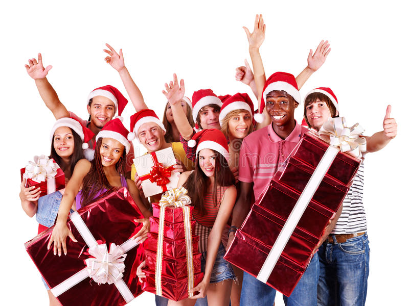 Download Group People In Santa Hat. Royalty Free Stock Photo - Image: 21437415