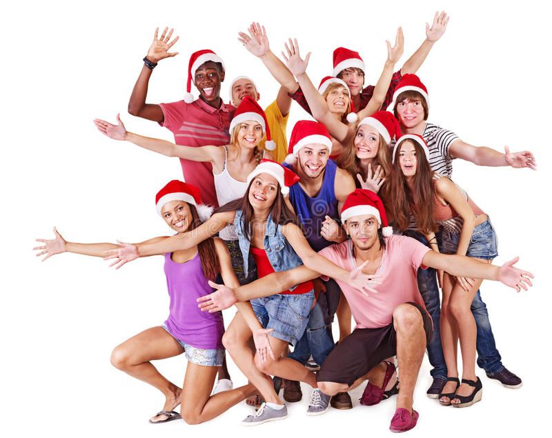 Download Group People In Santa Hat. Royalty Free Stock Images - Image: 27568949