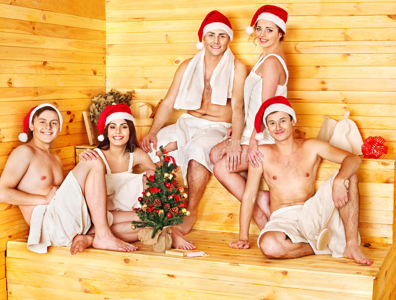Download Group People In Santa Hat  At Sauna. Stock Photo - Image: 27849694