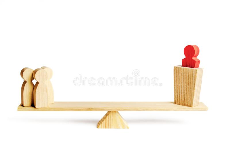 A group of people on the scales supports or opposition policies on the podium. concept of political support, voting for laws. And decisions, position of society royalty free stock image